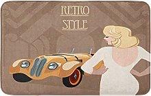 Yaoni Bath Mat Retro Flapper Girl and Race Car