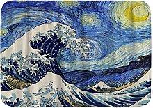 Yaoni Bath Mat Rug Space Van Gogh Starry Night and