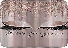 Yaoni Bath Mat Rug Spark Rose Gold Drips Makeup