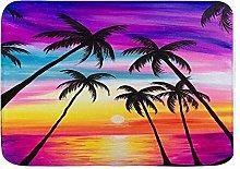 Yaoni Bath Mat Rug Tropical Palm Tree Leaf Beach