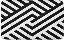 Yaoni Bath Mat Striped Black White Diagonal Lines