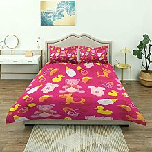Yaoni Duvet Cover,Cute Pink Baby Girl, Bedding Set
