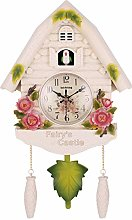 yaoyao Wall Clock White Antique Wooden Cuckoo Bird