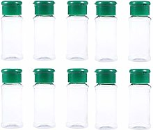 Yardwe 10pcs Plastic Spice Jars Bottles Containers