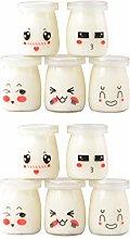 Yardwe 10PCS Yoghurt Jars Pudding Jar with Lid