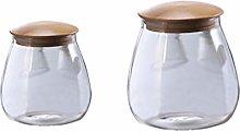 Yardwe 2 pcs Glass Storage Jars with Sealed Lids