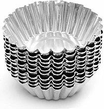 Yardwe 20pcs Silver Tone Aluminum Egg Tart Mold