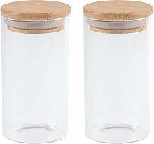 Yardwe 2pcs Glass Storage Jar with Wooden Airtight