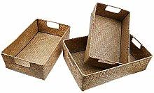 Yardwe 4Pcs Handwoven Natural Seagrass Storage