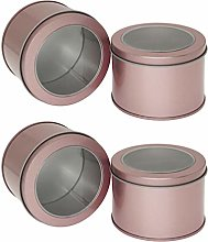 Yardwe 4pcs Metal Tin Cans Round Empty Containers