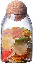 Yardwe 800ML Glass Storage Jars with Wood Lid