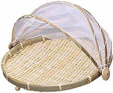Yardwe Bamboo Food Serving Tent Basket Round Food