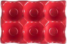 Yardwe Ceramic 6 Cup Egg Holder Refrigerator Egg