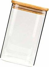 Yardwe Glass Jar with Airtight Wood Lid Glass