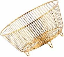 Yardwe Metal Wire Fruit Basket Round Storage