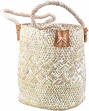Yardwe Natural Woven Seagrass Tote Belly Basket