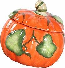 Yardwe Pumpkin Jar Ceramic Sugar Bowl Candy Jar