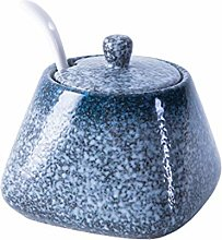 Yardwe Vintage Ceramic Spice Jar with Lid Spoon