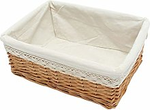 Yardwe Wicker Storage Basket With White Lining,