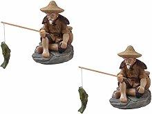 YARNOW 2Pcs Sitting Fisherman Bonsai Figurine