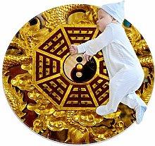 YATELI Round Area Rug Carpet Chinese Dragon Bagua