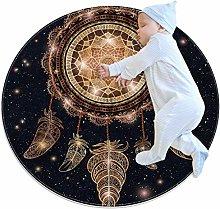 YATELI Round Area Rug Carpet Galaxy Star Dream