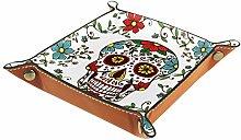 YATELI Small Storage Box,mens valet tray,Skull
