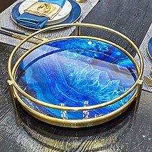 yaunli Decorative tray Blue Agate Stone Pattern