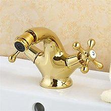 YAWEDA Gold Bidet Faucet Shaft Tap Double Handle