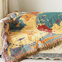 yazi World Map Bed Throws Bohemia Style Hanging