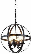YBright 4-Light Industrial Globe Chandeliers Black