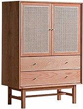 YBWEN Sideboard Vintage Rattan Storage Cabinet