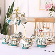 YBWEN Tea Set Bone China Coffee Cup Set English