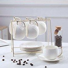YBWEN Tea Set Ceramic Coffee Cup Plate With