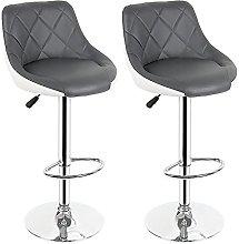 YCHUAN Bar Stools, 2Pcs Bar Chair PU Leather Bar
