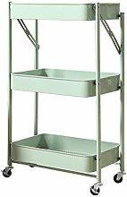 YCSD Foldable Storage Trolley Cart 3-Tier Metal