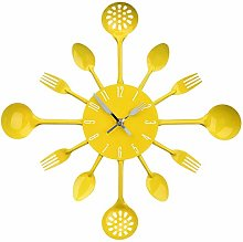 YCXHT Cutlery Metal Kitchen Wall Clock Spoon Fork