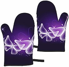Ye Hua Purple Butterfly Art Microwave Oven Glove,