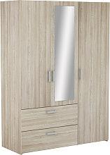 Yedar Mirrored 3 Doors 2 Drawers Wardrobe In