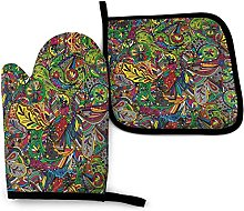 YeeATZ Funky Curly Doodles Oven Mitts and Pot