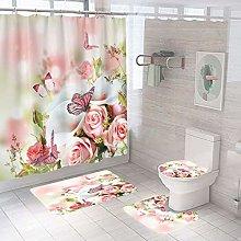 YEENUEER Pink Shower Curtain for Bathroom Sets