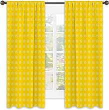 Yellow 99% blackout curtain, Hippie Flower