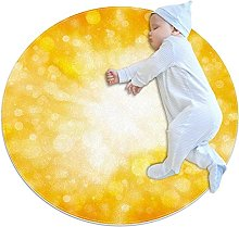 Yellow abstract light, Printed Round Rug for Kids
