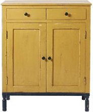 Yellow and Black Solid Mango Wood 2-Door 2-Drawer