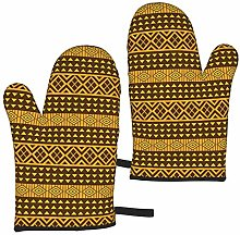 Yellow and Brown Triangles Oven Mitts,Heat