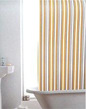 Yellow and Grey Stripe Bathroom Shower Curtain -