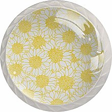 Yellow and White Flowers Round Knob Metal Cabinet