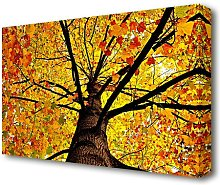 Yellow Autumn Tree Forest Canvas Print Wall Art
