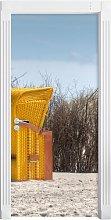 Yellow Beach Chair Door Sticker East Urban Home
