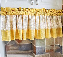 Yellow Bistro Curtain, Cotton and Linen with Lace,